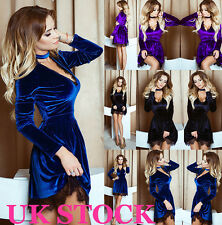 UK Womens Cocktail Velvet Lace Ladies Evening Party Long Sleeve Dress Size 6-16