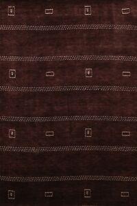 Dark Brown Gabbeh Oriental Geometric Area Rug Hand-knotted Wool 5x7 New Carpet