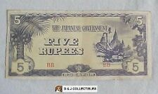 WW II JAPANESE GOVERNMENT BURMA 1942  5 RUPEES OCCUPATION  NOTE CIRCULATED
