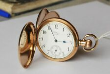 Beautiful Antique Gold Plated Gents Waltham Hunter Pocket Watch. Working.
