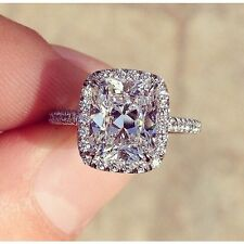 2.20ct. Cushion Cut Authentic Diamond Halo Eternity Pave Engagement Ring - GIA