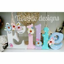 Floral sleepy unicorn girls freestanding wooden 15cm any 5 letters name gift