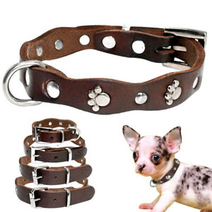 Brown Leather Pet Dog Collars with Cute Paw Studded for XSmall Small Medium Dogs