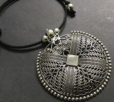 BLACK Suede CHOKER Necklace With A Large Statement Ethnic Disc Pendant Boho