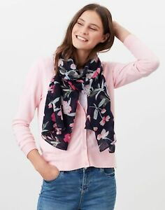 Joules Womens Julianne Wool Scarf - Navy Pink Floral - One Size