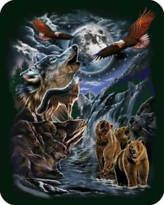 "79""x 96"" Queen Seven Wolves Bears Eagle Moon Mink Blanket Super Plush Fleece New"