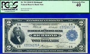 Rare FR-761 1918 $2 FRBN (( RICHMOND )) PCGS XF-40 **KEY District** E3724131A.