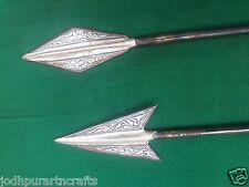 Rare Indo Persian Mughal Look Iron 2 Arrow Spear Head Silver Inlay HandworkIndia