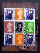 GB Machin Dr Who Set Tardis Pane of 8 + Label Cat £14.30 U/M (£5.50 Each) NC142
