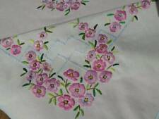 STUNNING VINTAGE HAND EMBROIDERED LINEN TABLECLOTH~SUPERB RAISED CHERRY BLOSSOMS