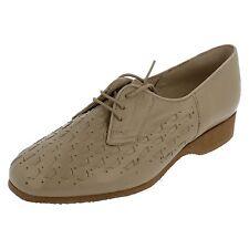 DAMES BEIGE LEATHER Elmdale lacet compensé chaussures style EDITH2 UK 4.5 E Fitt