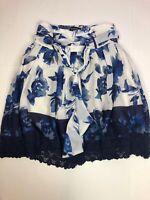 NWT Mix Nouveau Skirt Womens Medium Floral Blue & White Floral Midi Tie Waist