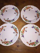 """Set of 4 Royal Kent Poland Porcelain Fruit Garland 10"""" Dinner Plates Excellent"""