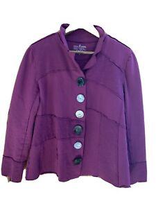 Neon Buddha Knit Jacket Blazer Buttons Wine Size Petite Large Cotton