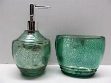 Crackle Glass Bath Set DELANEY GREEN Lotion Dispenser & Toothbrush Paste Holder