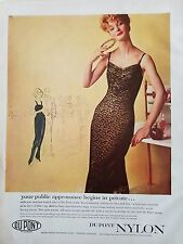 1957 women's DUPONT nylon black lace slip lingerie begins in private redhead ad