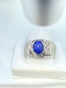 14k White Gold Men's Synthetic Star Sapphire and Diamond Ring Size 8 1/3ct VS1 G