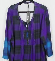 Lily of Firmiana Black Purple Blue TUNIC TOP Dress Size 3XL New with Tags