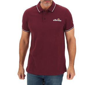 Ellesse Mens Polo Shirt Casual Pique Button-Up Polo Shirt - Burgundy - New