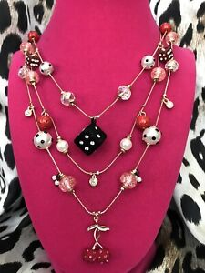 Betsey Johnson Retro Glam Fuzzy Dice Red Cherries Cherry Red & Black Necklace