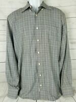 Peter Millar Mens Large Plaid Shirt Check Made In Turkey Soft Feel 100% Cotton