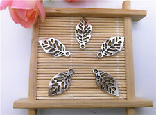 Wholesale 16Pcs Tibet Silver Leaves Charm Pendant Beaded Jewelry