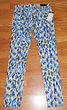 Big Star Alex Mid Rise Skinny Water Color Leopard Jeans Womens Size 26 BNWT