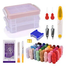 Magic DIY Embroidery Pen Knitting Sewing Tool Kit Punch Needle Set+48 Thread New