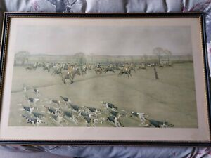 Cecil Aldin Pencil Signed Print The Grafton Hunt Fox hounds