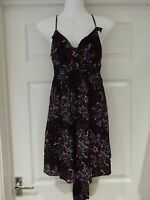 TOPSHOP Tunic Dress in Black Multi Print V-Neck Summer Classic UK Size 10