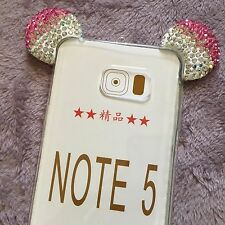 Samsung Galaxy Note 5 - Pink Diamond Rhinestone Minnie Mouse Ears Rubber Case