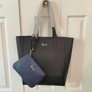Harrods London Black Navy Tote Shoulder Bag Reversible w/ Wristlet Faux Leather