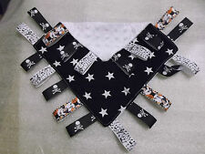 BABY snuggly tag blanket taggie black white skull crossbones music ribbon goth