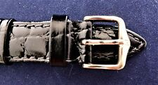 "Hirsch 16mm Black Leather Band-XL""Crocograin""-Water Resistant- G/PLATED BUCKLE-"