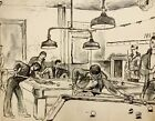WALTER STUEMPFIG 20th c. American DRAWING Young Men in Philadelphia Pool Hall #2