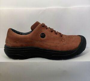 KEEN Presidio II Casual Oxford Brown Leather Hiking Shoes Women US 8.5