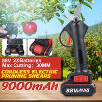 88V Cordless Electric Pruning Shears Secateur Branch Cutter Scissor W/ 2 Battery