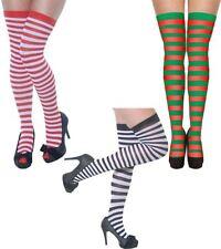 Venditore del Regno Unito Black /& White Stripe a Pois dispari Overknee Calze coscia alti calzini