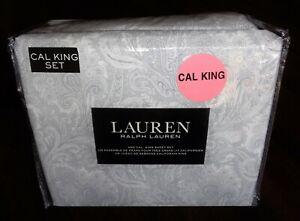 Ralph Lauren CAL California KING 100% Cotton Extra Deep Sheet Set Paisley Gray