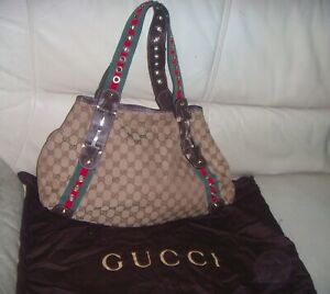 GUCCI GROMMET PELHAM Horsebit GG Monogram Fabric &  LEATHER HOBO Tote Bag ITALY