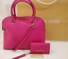 MK Cindy Saffiano Leather Dome Satchel Bag Fuschia $298 BAG + Phone Wristlet IP5