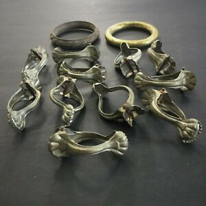 Vintage Brass French Curtain Clamps Drapery Holds Claw Hook Hangers Rings