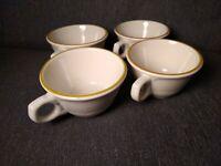 Syracuse China Scalloped coffee tea Mug with a Brown Rim Set of FOUR - Vintage!