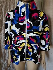 Joseph Ribkoff multi coloured 3/4 sleeve gathered geometric blazer size XL-XXL