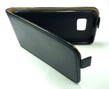 Echt Leder Tasche für Samsung Galaxy S7 - Case Etui Schwarz Hülle Real Leather
