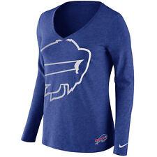 Women Buffalo Bills Navy Logo Wrap Tri-Blend V-Neck Long Sleeve T-Shirt XS NFL