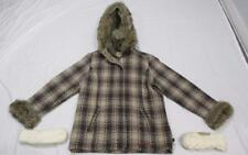 WOOLRICH Plaid Faux Fur Cuffs, Collar, Hood Jacket, Womens M, with Mittens
