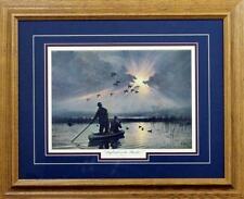 "Daybreak on the Marshes Duck  Art by Les Kouba Print Framed Size 21"" x 17"""
