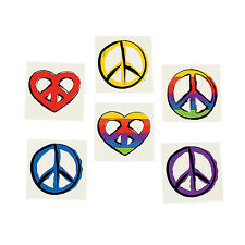 HIPPIE PARTY PEACE SIGN TATTOOS Temporary Tattoo Favour Pack of 36