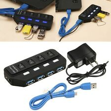 New 4 Port USB 3.0 Hub On/Off Switches + AC Power Adapter Cable for PC Laptop
